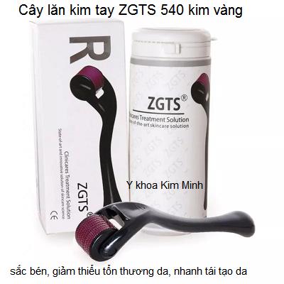 Cây lăn kim tay 540 kim vàng ZGTS chính hãng dùng lăn dưỡng da - Y khoa Kim Minh