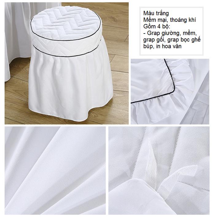 Chất liệu vải grap giuong massage trang GP-01T - Y khoa Kim Minh