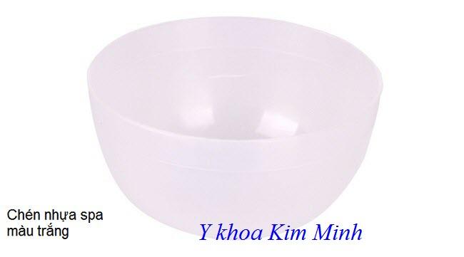 Chén nhựa màu trắng dùng khuấy bột đắp mặt nạ spa - Y khoa Kim Minh
