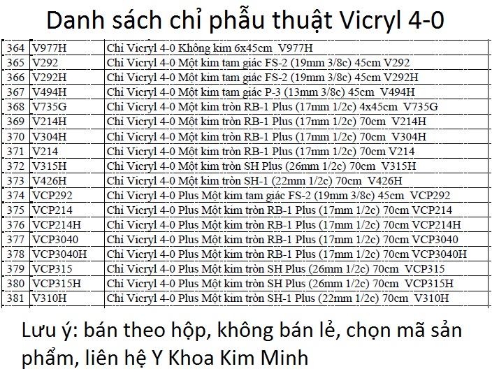 Danh sách chỉ Vicryl 4-0, chỉ khâu vết thương tự tiêu bán tại Y Khoa Kim Minh