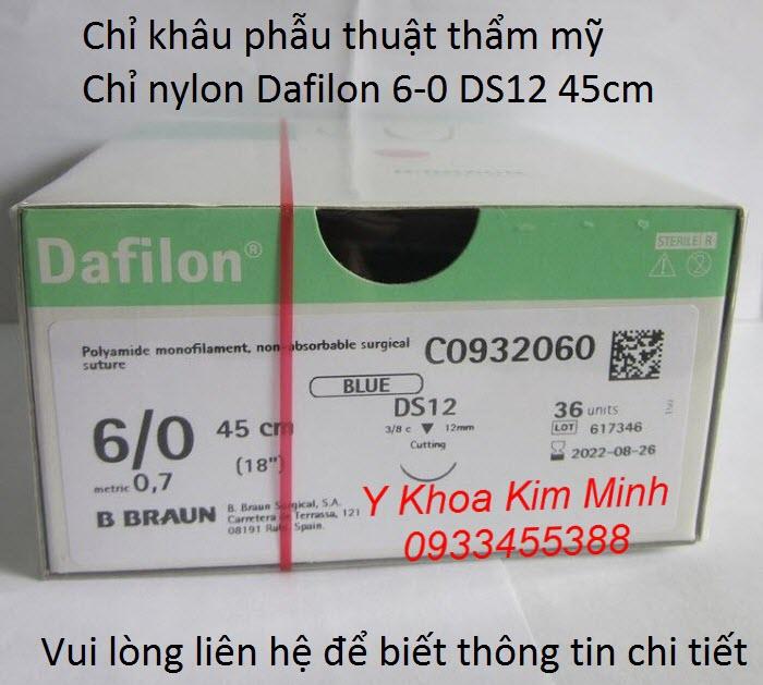 Chỉ khâu mí mắt, chỉ nylon Dafilon 6-0 DS12 C0932090 45 cm