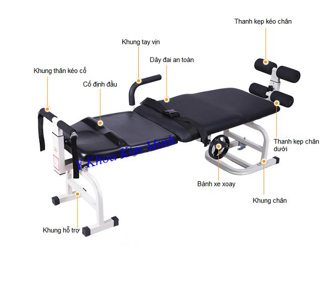 Chi tiêt sơ đồ hình ảnh giường kéo cột sống KM325 bán tại Y khoa Kim Minh