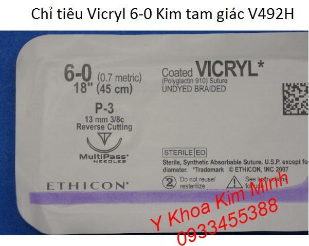 Chỉ tiêu khâu vết thương phẫu thuật Vicryl 6-0 V492H bán tại Y khoa Kim Minh