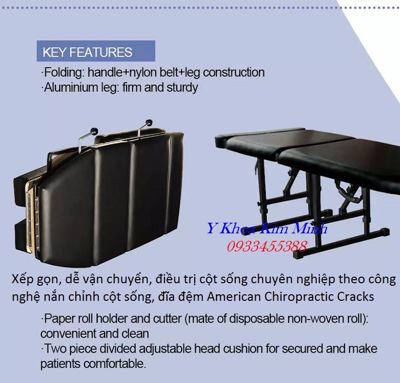 Địa chỉ công ty bán giường nắn chỉnh cột sống Chiropractic Cracks Table AK-180 - Y Khoa Kim Minh