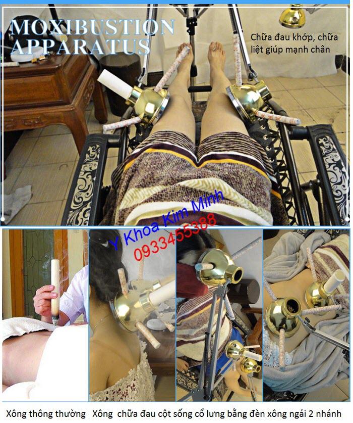 Chữa liệt tai biến, đau khớp suy nhược đa khớp, đau cột sống bằng đèn xông ngải 2 nhánh XL-065 - Y khoa Kim Minh