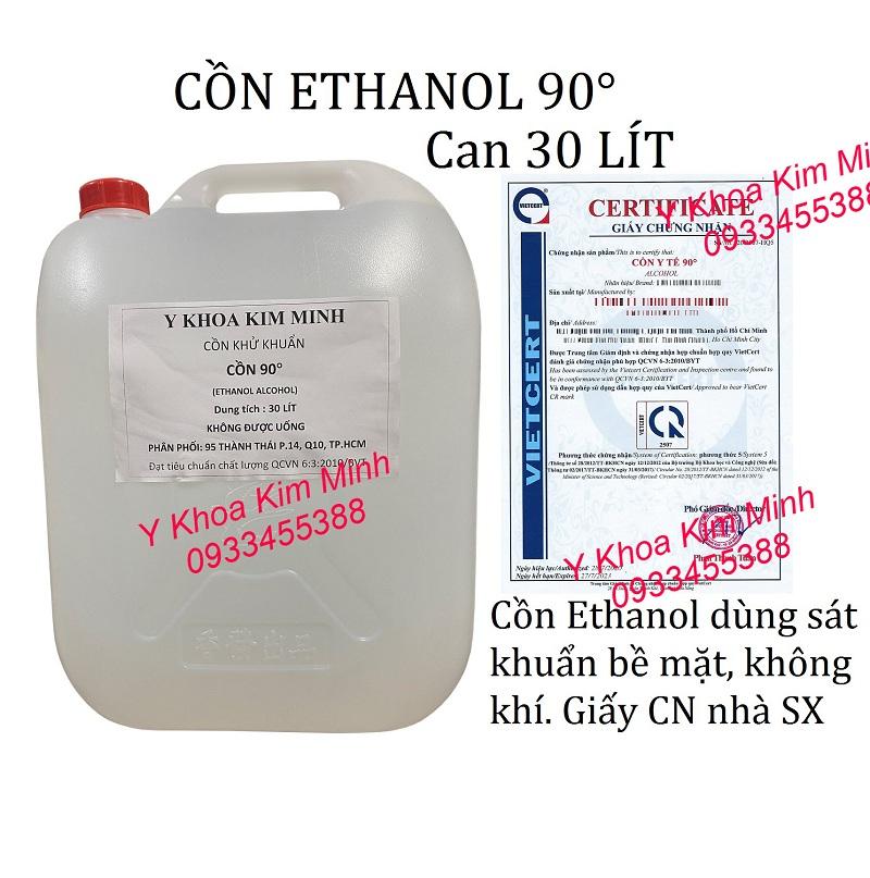 Cồn Ethanol 90 là loại côn y tế có tính sát khuẩn mạnh được dùng để sát khuẩn bề mặt và không khí