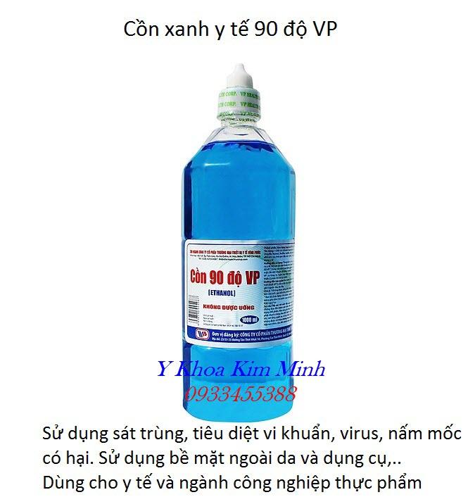Chai cồn xanh y tế 90 VP chuyên dùng sát trùng và tiêu diệt vi khuẩn bên ngoài bề mặt - Y Khoa Kim Minh