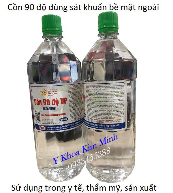 Cồn y tế 90 độ bán tại Tp Hồ Chí Minh, công ty sản xuất Vĩnh Phúc, dung tích 1000ml - Y Khoa Kim Minh