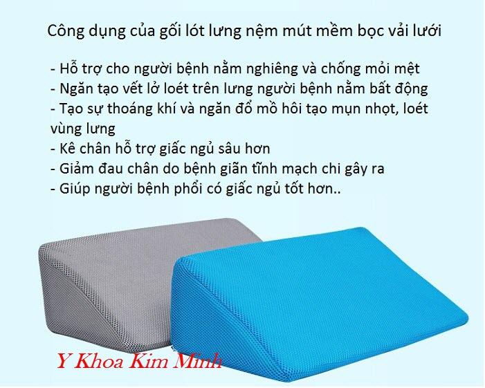 Công dụng của gối lót lưng tam giác hỗ trợ người bệnh nằm liệt tai biến - Y Khoa Kim Minh