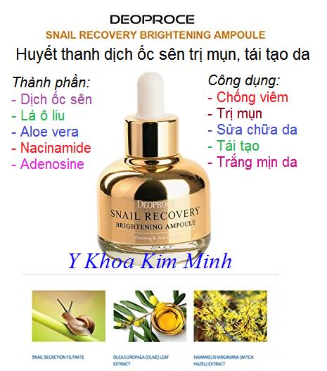 Tinh chất huyết thanh dịch ốc sên Snail Recovery Deoproce Hàn Quốc trị mụn chữa làn da, tái tạo da - Y Khoa Kim Minh