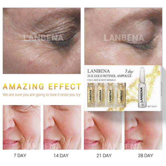 Công dụng điều trị của huyết thanh vàng 24K Retinol Lanbena Ampoule - Y Khoa Kim Minh