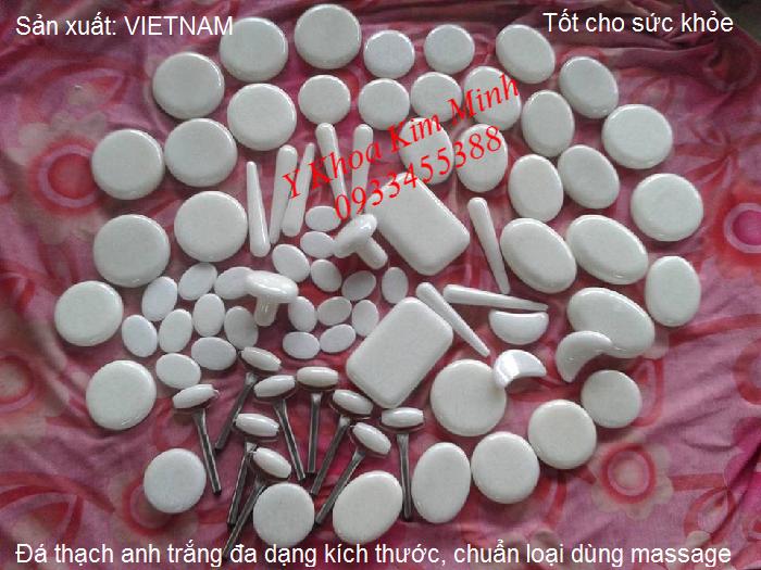 Đá masssage trắng, đá thạch anh trắng dùng massage body và mặt sản xuất tại Bình Định Việt Nam - Y Khoa Kim MInh 0933455388