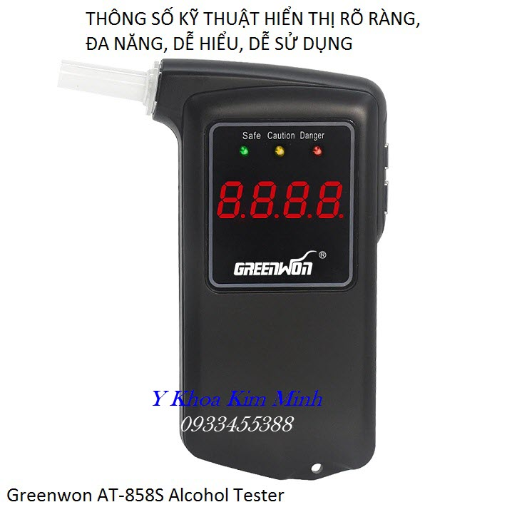 Máy đo lượng cồn hơi thở cao cấp dùng cá nhân nhãn hiệu Greenwon AT-858S - Y Khoa Kim Minh