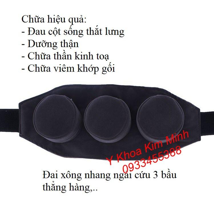 Đai xông ngải cứu 3 bầu đồng thẳng hàng trị thoái vị đĩa đệm thoái hoá cột sống, viêm khớp gối - Y khoa Kim Minh