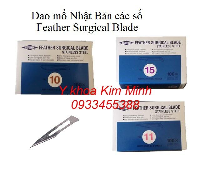 Dao mổ phẫu thuật nhập khẩu Nhật Bản các số dùng cho cán dao số 3, số 4 - Y khoa Kim Minh