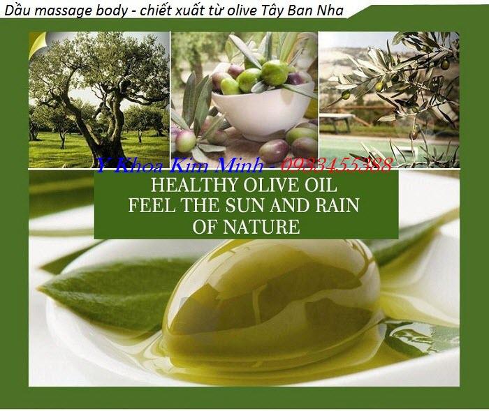 Tinh dầu massag body từ cây Olive xứ Tây Ban Nha nhập khẩu bán tại Y Khoa Kim Minh