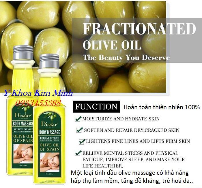 Tinh dầu olive nguyên chất massage body toàn thân chuyên dùng cho spa thẩm mỹ viện - Y Khoa Kim Minh