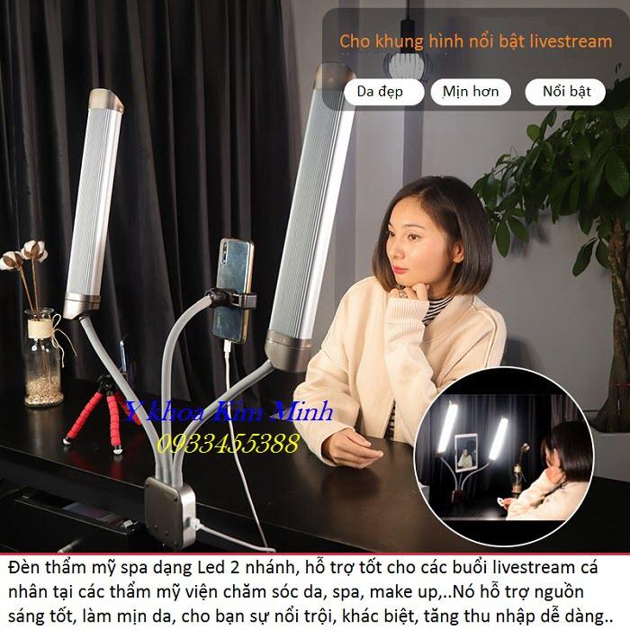 Đèn livestream Led 2 nhánh ánh sáng mạnh L-402 dùng cho ngành chăm sóc da thẩm mỹ spa - Y khoa Kim Minh