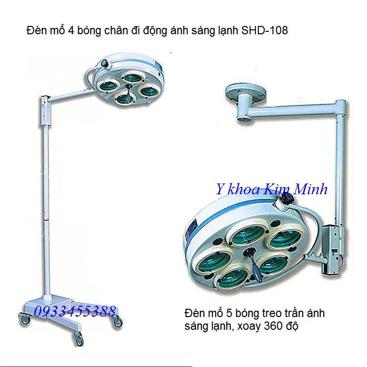 Đèm mổ 4 bóng ánh sáng lạnh chân di động SHD-108 - Y khoa Kim Minh 0933455388