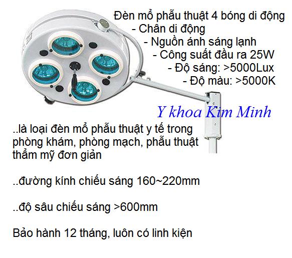Bán đèn mổ 4 bóng chân di động ánh sáng lạnh SHD-108 - Y Khoa Kim Minh 0933455388