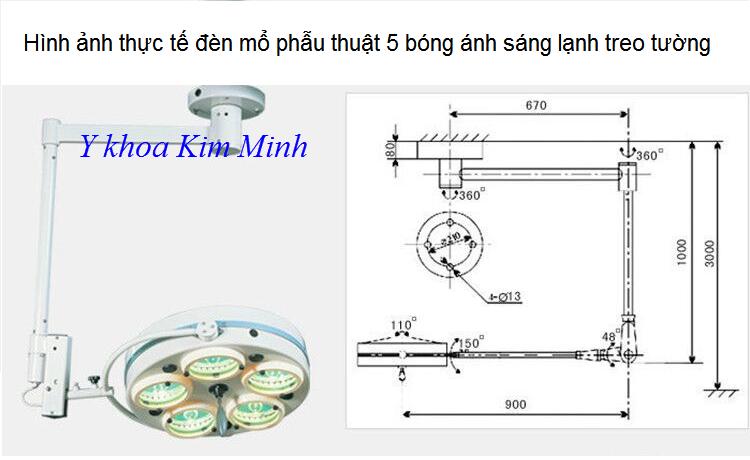 Đèn mổ 5 bóng ánh sáng lạnh treo trần - Y khoa Kim Minh 0933455388