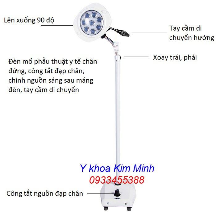 Đèn tiểu phẫu ánh sáng lạnh 8 bóng Led chân đứng LCL-08 - Y khoa Kim Minh