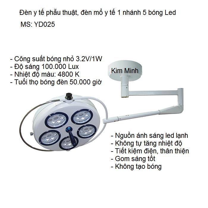 Địa chỉ công ty bán đèn y tế phẫu thuật treo trần 1 nhanh 5 bóng led YD025 - Y Khoa Kim Minh