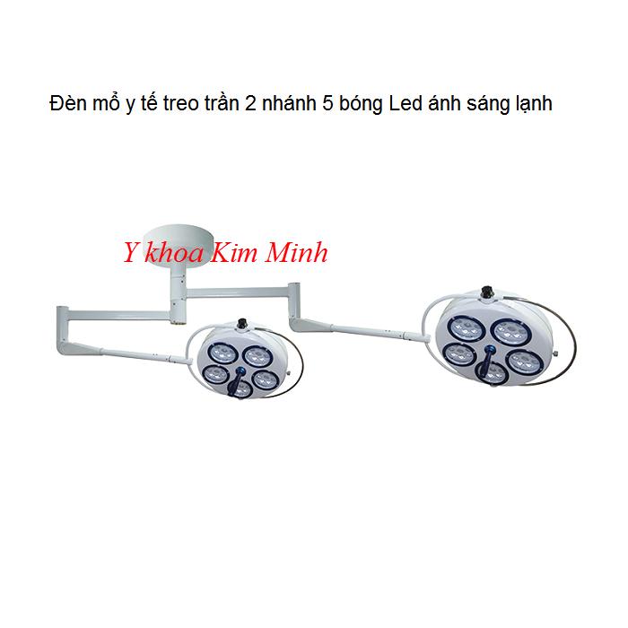 Đèn y tế treo trần 2 nhánh 5 bóng led lạnh bán tại Y khoa Kim Minh