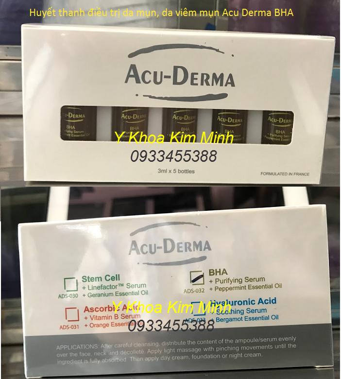 Điều trị da viêm mụn, dị ứng gây viêm mụn bằng huyết thanh Acu Derma BHA - Y Khoa Kim Minh