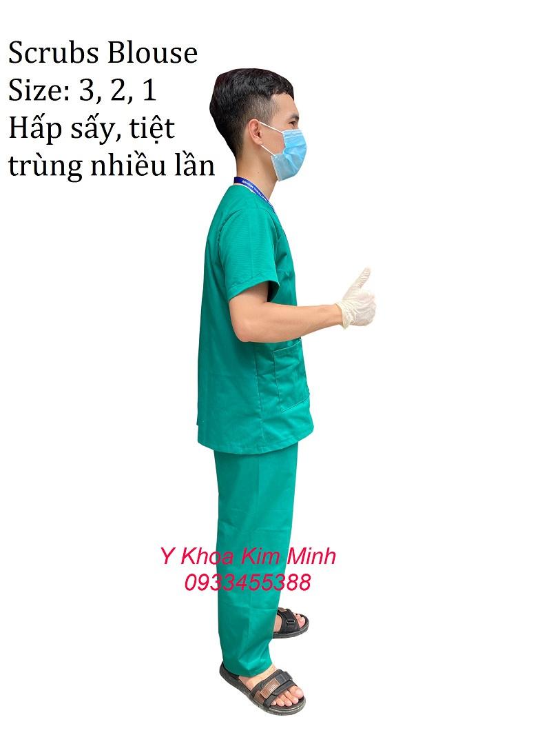 Đồ đồng phục xanh lá scrubs dùng cho nhân viên y tế bán giá sỉ tại Y Khoa Kim Minh