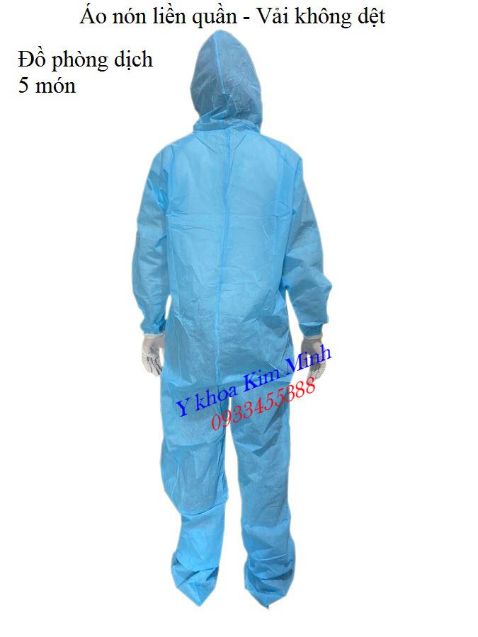 Đồ phòng dịch áo liền quần 5 món: áo-nón liền quần, giầy, khẩu trang, găng tay - Y khoa Kim Minh