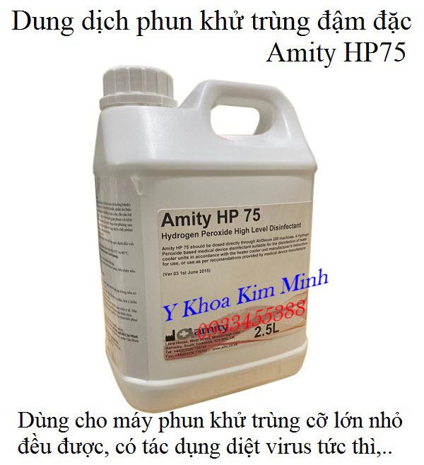 Máy phun sương khử trùng y tế dùng với dung dịch phun khử trùng đậm đặc Amity HP75 rât hiệu quả diệt ngay virus