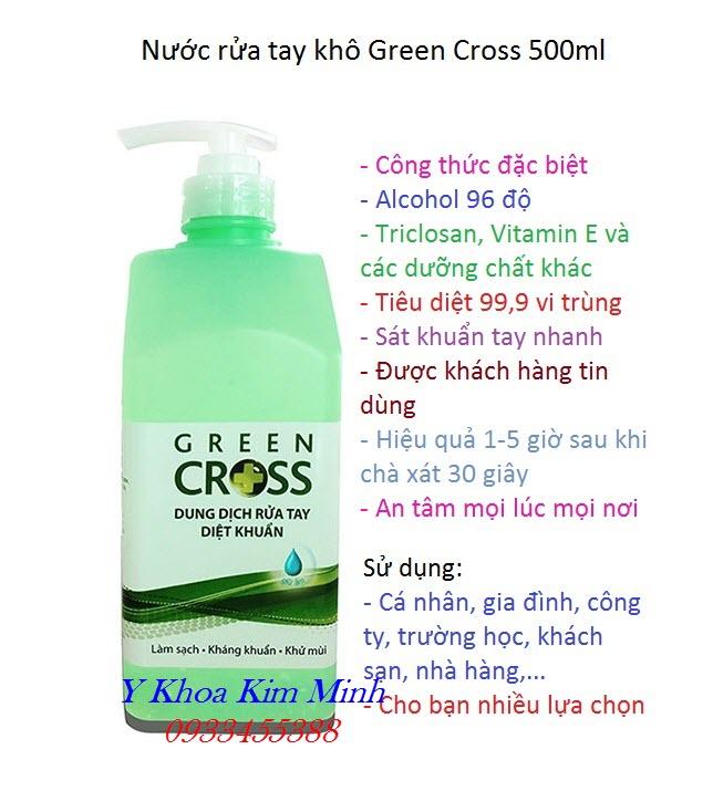 Công dụng của nước rửa tay khô Green Gross 500ml - Y Khoa Kim Minh