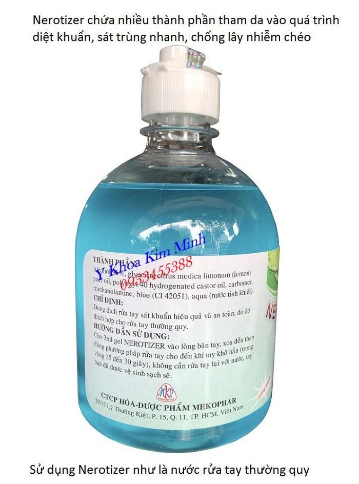 Gel sát khuẩn Nerotizer tiêu diệt vi khuẩn vi rut 99,99% nên được xem là loại nước rửa tay thường quy - Y khoa Kim Minh