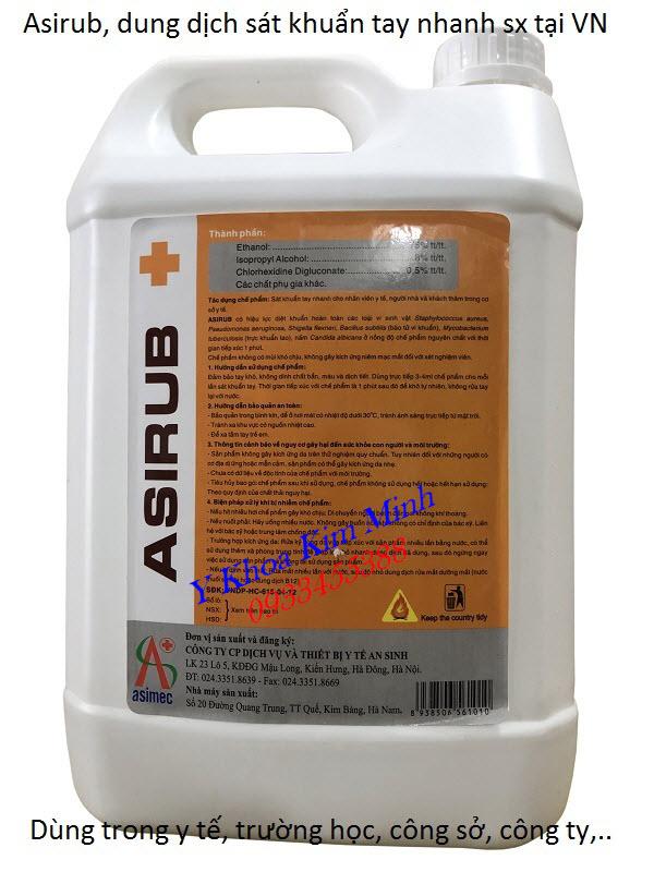 Dung dịch sát khuẩn tay nhanh Asirub 5 lít/can dùng cho nhân viên y tế, trường học, công ty, gia đình - Y khoa Kim Minh