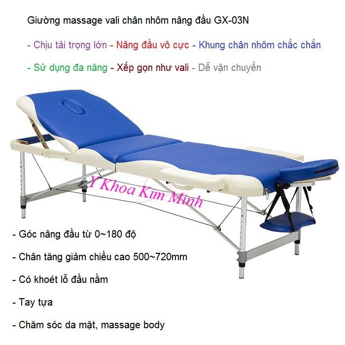 Giuong massage vali nhap khau, giuong vali chan nhom xep gon nang dau GX-03N - Y Khoa Kim Minh