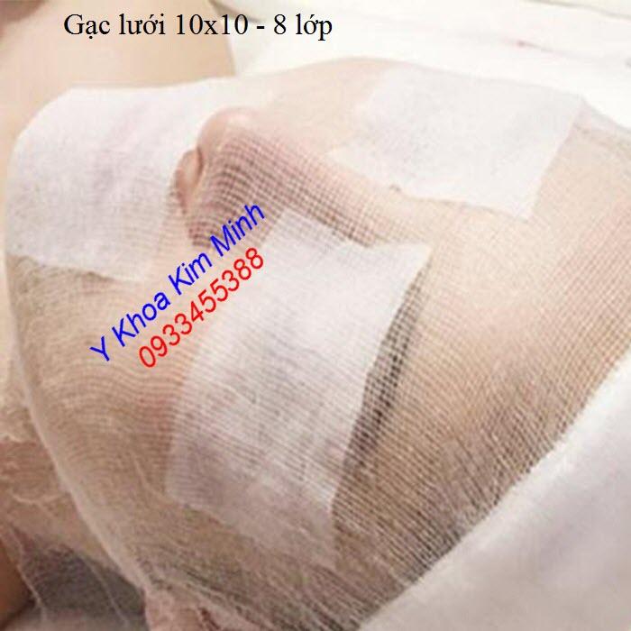 Gạc lưới 10x10 8 lớp hộp 100 miếng dùng vải cotton sản xuất tại Việt Nam - Y khoa Kim Minh