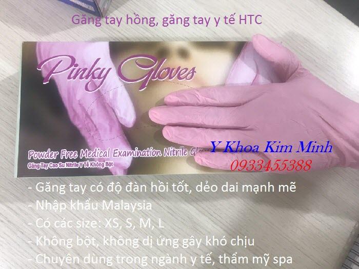 Găng tay màu hồng HTC Mã Lai bán giá sỉ tại Tp Hồ Chí Minh - Y Khoa Kim Minh