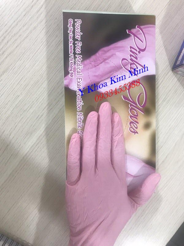 Găng tay màu hồng không bột HTC nhập khẩu Malaysia - Y Khoa Kim Minh