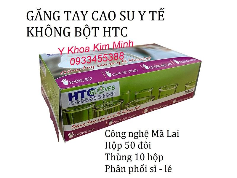 Găng tay cao su y tế HTC Mã Lai không bột bán giá sỉ tại Y Khoa Kim Minh