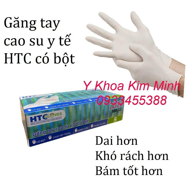 Găng tay y tế cao su có bột HTC bán giá sỉ tại Y Khoa Kim Minh