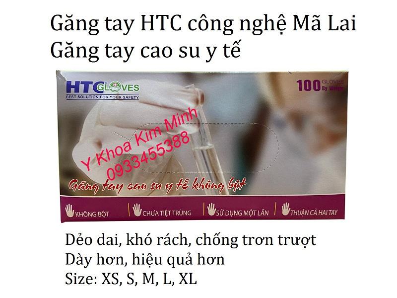 Găng tay y tế HTC không bột size XS, S, M, L, XL bán tại Y Khoa Kim Minh