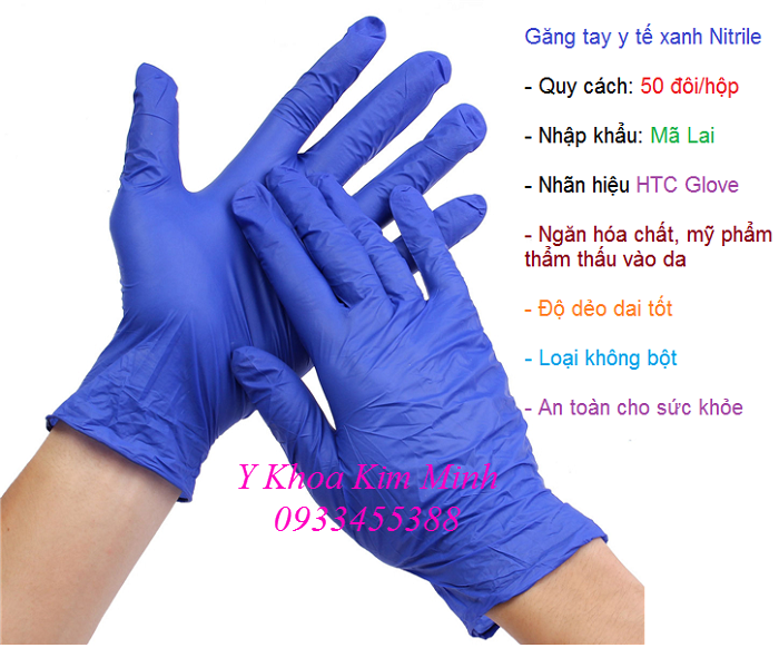 Nơi bán găng tay y tế xanh không bột Mãi Lai, HTC Glove - Y Khoa Kim Minh