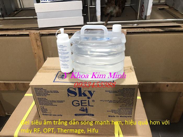 Bán giá sỉ gel siêu âm trắng dùng cho máy giảm béo RF, triệt lông, OPT, Laser, Hifu, Thermage - Y Khoa Kim Minh