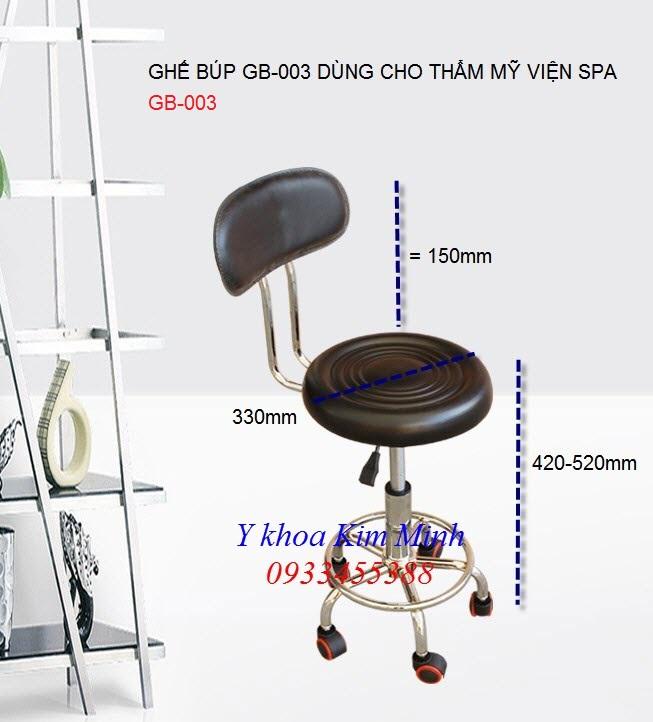 Ghế búp có tăng giảm GB-003 dùng cho nhân viên thẩm mỹ viện ngồi - Y Khoa Kim Minh 0933455388