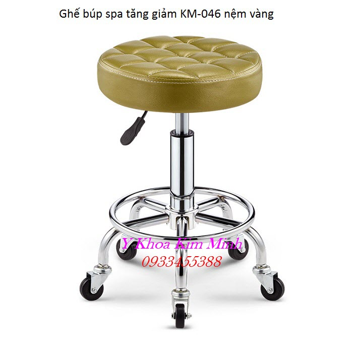 Ghế búp spa tăng giảm KM-046 nệm simili màu vàng - Y Khoa Kim Minh