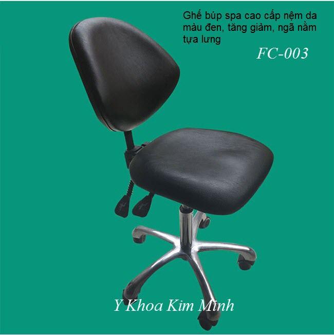 Ghế búp spa tựa lưng tăng giảm ngã nằm nệm màu đen - Y khoa Kim Minh
