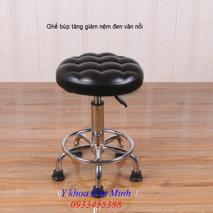 Ghế búp tăng giảm chiều cao nệm đen dập vân nổi - Y khoa Kim Minh