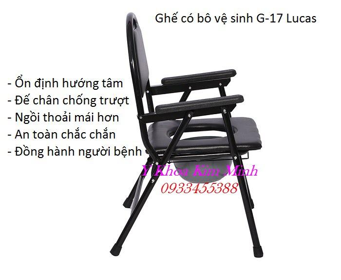 Ghế có bô ngồi vệ sinh người già người bệnh G-17 Lucas - Y khoa Kim Minh