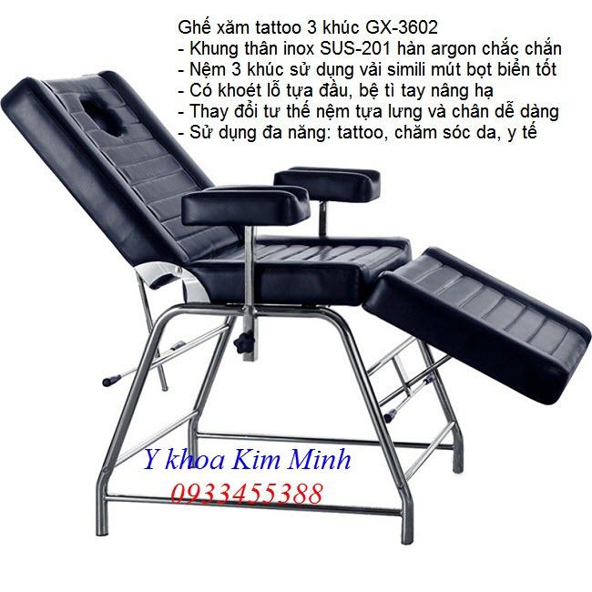 Ghe xam tattoo 3 khúc GX-3602 đang bán tại Tp Ho Chi Minh - Y Khoa Kim Minh